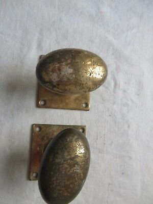 Pair of Victorian door knobs brass oval