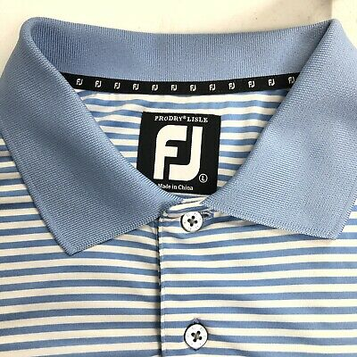 FootJoy FJ Mens Prodry Lisle Golf Polo Shirt Large Blue White Striped Stretch