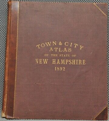 """RARE Town & City Atlas State New Hampshire 1892 Hurd 3/4 Leather LARGE 18""""X15"""""""