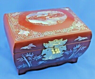 Stunning Korean Red Lacquer & Mother of Pearl Jewellery Box - 2 Tier - Signed