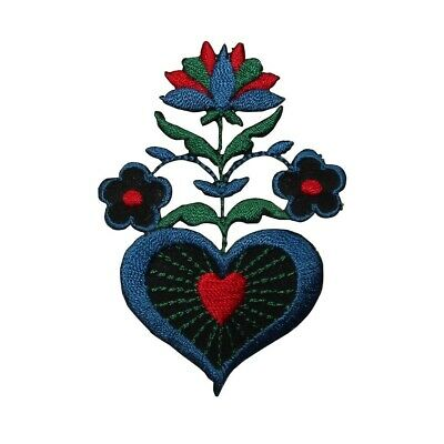 ID 6968 Blue Heart Flower Patch Love Plant Blossom Embroidered Iron On Applique