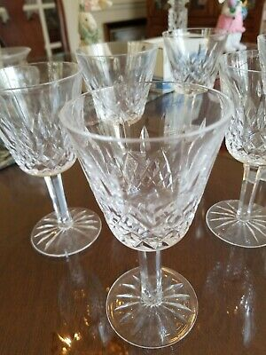 """SET of 6 Waterford 5 7/8"""" LISMORE CUT CRYSTAL WINE GLASSES Stems MINT!!"""