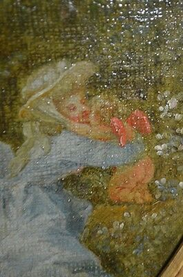 Antique 19th Century Maiden and Cupid Oil Painting in a Gilt Wood Frame