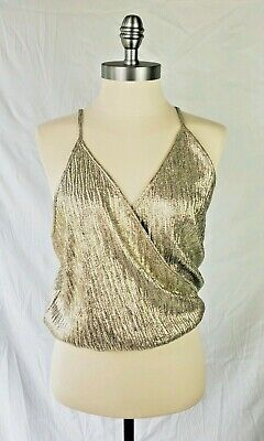 0edf15b2 Zara WB Collection Womens Size Medium Gold Shimmer Cross Over Cropped Top A2