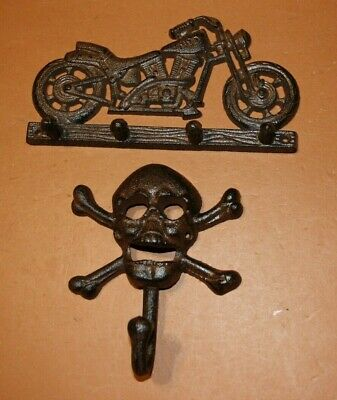 (2) Collectible Vintage-look Motorcycle Decor, Cast Iron Motorcycle Wall Hooks