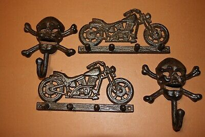 (4) Fathers Day Gift Collectible Vintage-look Motorcycle Decor Wall Hooks Set