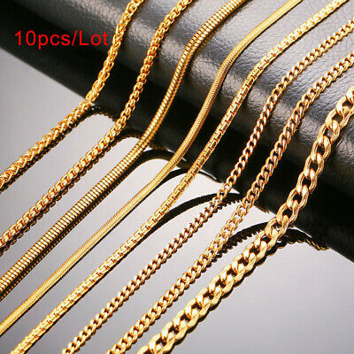 "10pc/Lot 24"" Gold Men Necklace Snake Rolo Cable Curb Chain Link Stainless Steel"