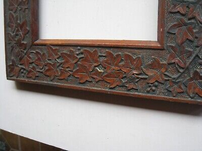 VINTAGE hand carved grapes & leaves arts & crafts wood picture frame