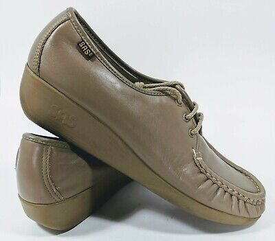 87af18b494 SAS Bounce Womens Lace Up Moccasins Beige Brown Perforated Leather Size 11S