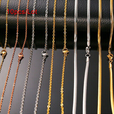 "10pc/Lot 20"" Women Necklace Clavicle Chain Snake Rolo Link Stainless Steel Gift"