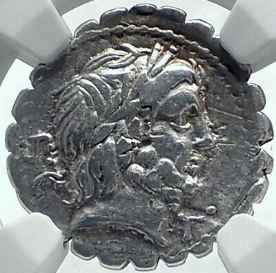 Roman Republic 83BC Authentic Ancient Silver Coin JUPITER & CHARIOT NGC i78008