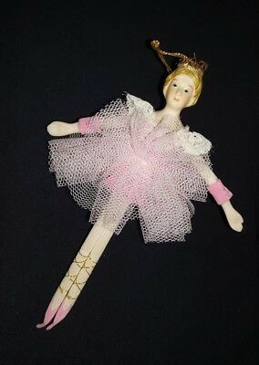 "BALLERINA  In Pink Christmas Ornament 6.25"" Tall / porcelain head & hands"