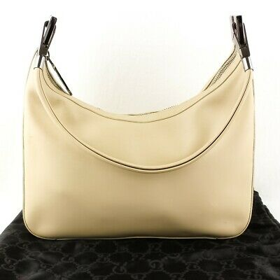 11a11e724bc099 Auth GUCCI Leather Hobo Shoulder Bag Hand Purse 001 3812 Ivory Beige