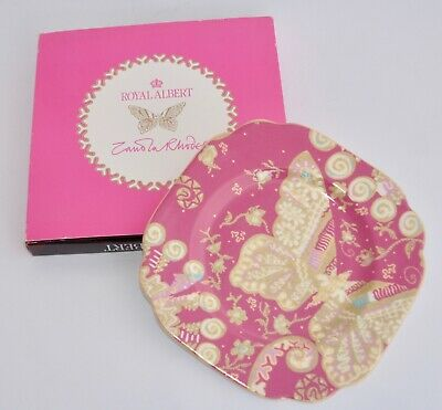 Boxed Royal Albert ZANDRA RHODES My Favourite Things Cake Plate - Pink Butterfly