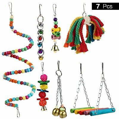 Pidsen 7 Pcs Colorful Wooden Bird Toy Swing Hammock Suitable For Small Parrots