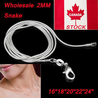 """Wholesale 2MM Silver Plated Snake Chains Necklace 16""""18""""20""""22""""24"""" Inch CA Stock"""