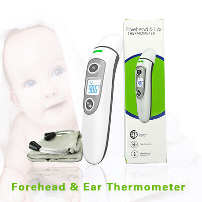 Digital Forehead & Ear Thermometer Gun Non-contact Baby/Adult Temperature Device
