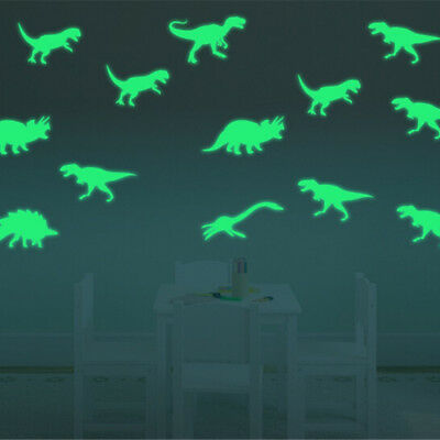9x Glow in the Dark Luminous Dinosaurs Stickers Kids Room Wall Art Decoration Xe