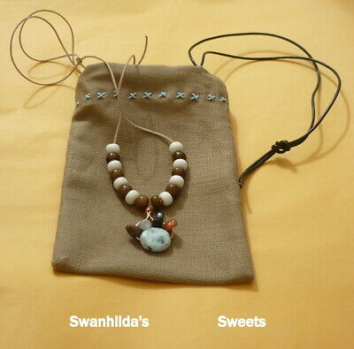 Larp Necklace Hand-Crafted Leather, Copper, Mixed Stones & Cow Bone Swsw