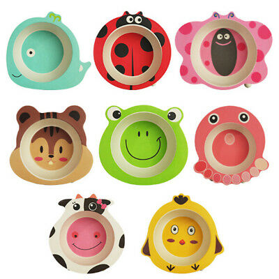 Baby Bowl Cartoon Tableware Feeding Plate Bamboo Fiber Kids Dishes Cutlery XC