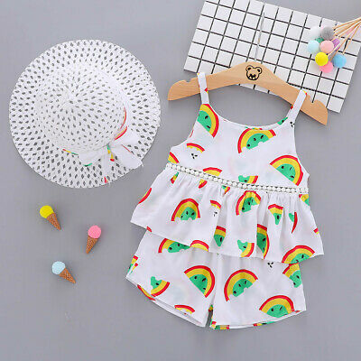 Infant Baby Kids Girls Strap Ruched Rainbow Tops Princess Casual Shorts Hat