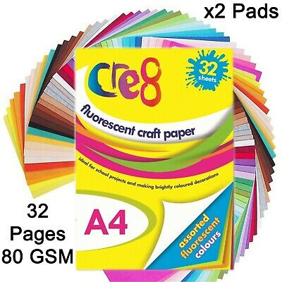 A4 Fluorescent craft pad scrapbook drawing art neon colour paper back card cover