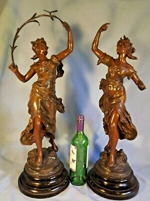 Very Large Pair 19c French Spelter Figures.