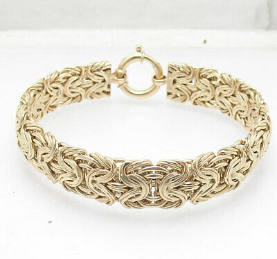 Double Wire Domed Mirror Byzantine Bracelet Real 14K Yellow Gold QVC ALL SIZES