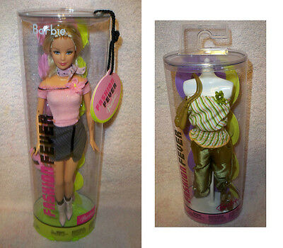 Barbie Fashion Fever Doll in Tube Pink Top Grey Skirt 2004 + extra outfit 2004