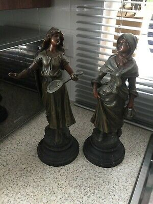 PAIR of French Art Nouveau Manon singed Statue Figures Spelter Bronze circa1900s