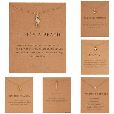 Cute Sea Horse Crystal Animal Pendant Women Clavicle Chain Choker Card Necklace