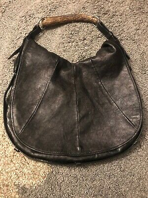 f5a009a2d95 Yves Saint Laurent Black Leather Mombasa Hobo Bag Horn Handle Silver Trim  YSL