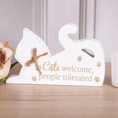 White Wooden Cat Ornament Sign Freestanding Decorative Home Accessory Gift