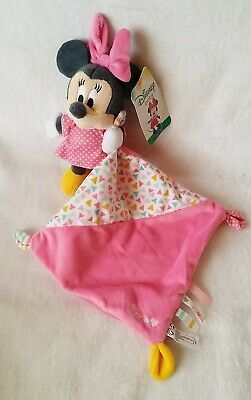 NEUF Doudou Minnie rose à pois mouchoir rose et triangles colorés DISNEY D-142N