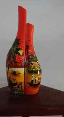 Vintage Vietnamese Lacquerware, Handmade Wood Lacquer Pots, Pair of Vases