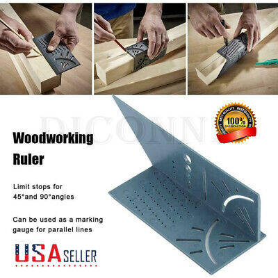 US 3D Mitre Angle Measuring Square Size Measure Tool With Gauge And Ruler 90°
