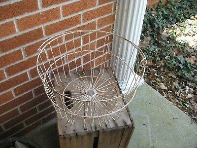 Vintage Antique Primitive Wire Hen Egg Gathering Basket Planter Country Farm