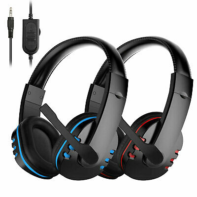 for PS4 Xbox Nintendo Switch PC Stereo 3.5mm Wired Gaming Headset [Blue/Red]