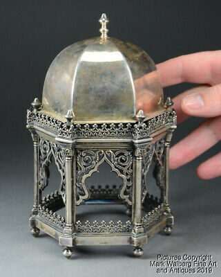 Indian Mughal Style Silver Hexagonal Temple Form Cover, 19th Century