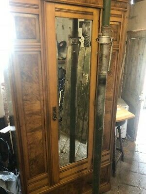 Antique,Edwardian,Walnut double,wardrobe,mirrored doors drawers
