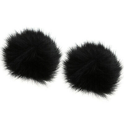 2Pcs Black Outdoor Microphone Windscreen Wind Muff Furry Cover for Lapel Mic