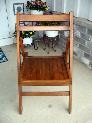 Vtg Antique Oak Wood Slat folding chair MCM adult size plant holder yard decor
