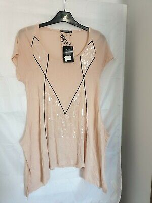 Ladies Atmosphere Short Sleeve Peach Long Top Tunic Sequin Detail Size 10 Bnwt