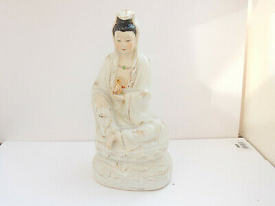 Vintage Japanese Porcelain Buddha Lady with Gold Urn Ornament