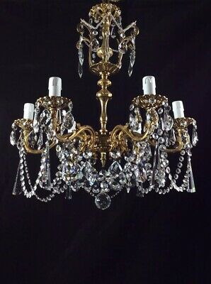 Gorgeous Large Vintage French Sparkling 6 Arm Crystal Chandelier Ceiling Light
