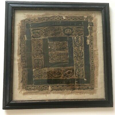 large ANCIENT EGYPTIAN COPTIC TEXTILE FRAGMENT w/ figures/figural