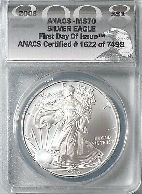 2008 $1 American Silver Eagle First Day of Issue ANACS MS-70 ASE