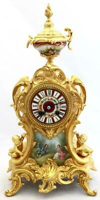 Antique Mantle Clock Exceptional French Red Sevres & Gilt Bell Striking C1880