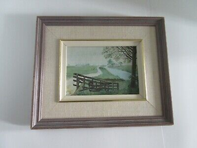 Small Oil Painting Signed:Country Meadows Scene from Friesland Holland