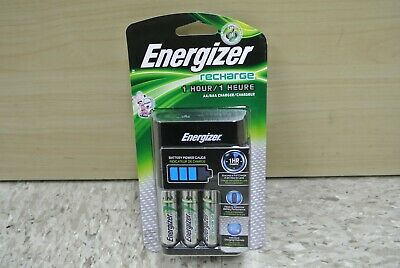 Energizer AA/AAA 1 Hour Charger with 4 AA NiMH Rechargeable Batteries Charges...